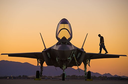 Australian airman on the wing of a F-35 in August 2018