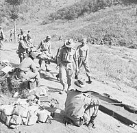 Soldiers carrying a man on a stretcher.