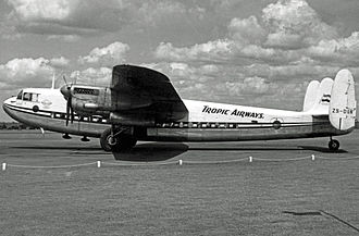 Blackbushe Airport - Avro York of Tropic Airways (South Africa) at Blackbushe in 1955