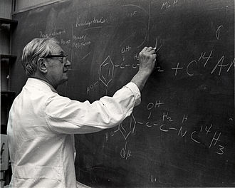 Julius Axelrod - Julius Axelrod working at the blackboard on the structure of catecholamines