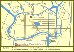 Plan of Ayutthaya historical park