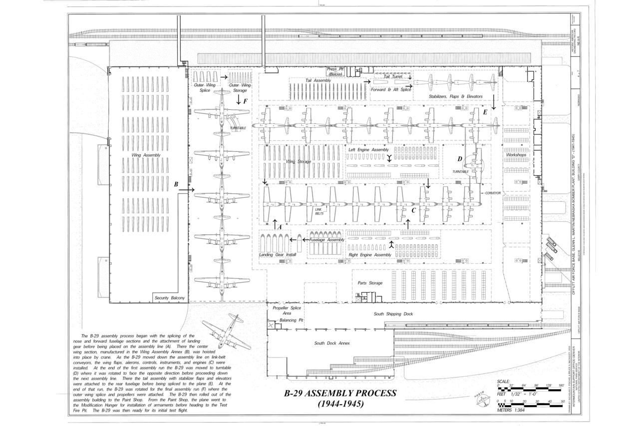 file:b-29 assembly process - offutt air force base, glenn l   martin-nebraska bomber plant, building d, peacekeeper drive, bellevue,  sarpy county,