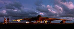 Northrop Grumman B-2 Spirit - A maintenance crew servicing a B-2 at Andersen AFB, Guam, 2004