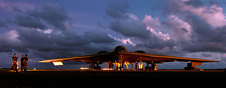 Northrop Grumman B-2 Spirit - A maintenance crew servicing a B-2 at Andersen AFB, Guam, 2004