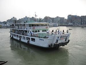 Buriganga River - A launch sails from Sadarghat on the Buriganga.