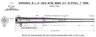 BL 6 inch Mk XII naval gun - Image: BL 6 inch Mk XII gun barrel diagram