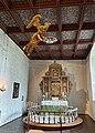 BORRE KIRKE medieval church Horten Norway 2021-07-08 Interior Alterring Altertavle Abel Schrøder 1665 Lysekrone chandeliers Dåpsengel baptismal angel Rosemalt tak painted ceiling etc IMG 7981.jpg
