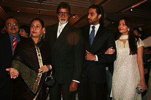 Jaya Bachchan - Jaya Bachchan with husband Amitabh Bachchan, son Abhishek Bachchan and daughter-in-law Aishwariya Rai.