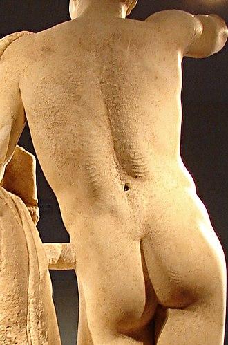 Hermes and the Infant Dionysus - Back of the Hermes : traces de gouge le long de la raie du dos et des fesses, zones sommairement polies parcourues de passages de gradine et de stries de râpe