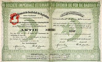 Berlin–Baghdad railway - Share of the Baghdad railway, issued 31 December 1903
