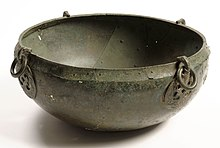 Colour photograph of a hanging bowl