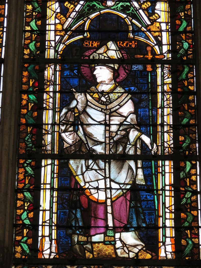 Den hellige Ansbert, glassmaleri i Chapelle de la Vierge i katedralen i Rouen (1300-t)
