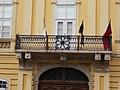 Balcony with iron railings and flags. Bishop's Palace. ID 3918. - 5, Városház Sq., Downtown, Székesfehérvár, Fejér county, Hungary.JPG