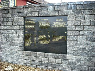 Ballymurphy massacre - Commemoration plaque in a remembrance garden in Ballymurphy, Belfast