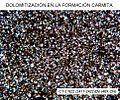 Bandas dolomíticas con porosidad intercristalina con bitumen yo MO (Formación Carmita, Cuba Central).jpg