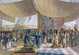 Louis de Freycinet - Baptism of Hawaiians on the Uranie in 1819