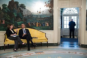 Lisa Monaco - Lisa Monaco briefs President Obama on the investigation of the Boston Marathon bombing, in the Diplomatic Reception Room before the President departed the White House, April 18, 2013