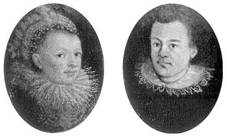 Johannes Kepler - Portraits of Kepler and his wife in oval medallions