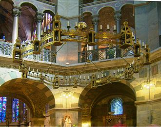 Frederick I, Holy Roman Emperor - The Barbarossa Chandelier in Aachen Cathedral was donated by Frederick sometime after 1165 as a tribute to Charlemagne.