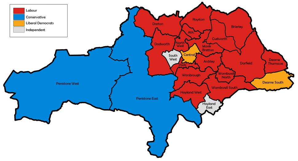 Barnsley UK local election 2003 map