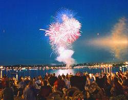Fireworks over Kempenfelt Bay during Barrie's Canada Day celebrations.