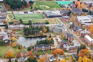 Campus of Bates College - Aerial view of the central campus