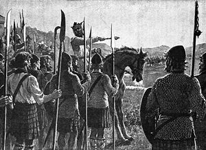 First War of Scottish Independence - Robert the Bruce addresses his troops before the Battle of Bannockburn. Drawing from c. 1900.