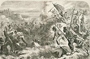 Butler, Missouri - The Battle of Island Mound as depicted in an 1863 Harper's Weekly woodcut.