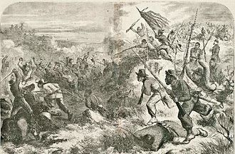 Skirmish at Island Mound - A woodcut depicting the battle published in Harper's Weekly in 1863
