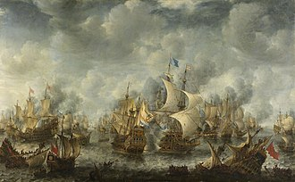 First Anglo-Dutch War - The Battle of Scheveningen, 10 August 1653 by Jan Abrahamsz Beerstraaten, painted c. 1654, depicts the final battle of the First Anglo-Dutch War.