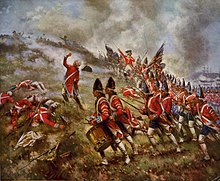 Across the entire foreground, then receding into the center background, British infantry assaulting on line uphill in red coats against entrenched Americans at the top.