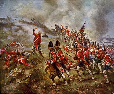 British redcoats at the Battle of Bunker Hill in 1775 Battle of bunker hill by percy moran.jpg