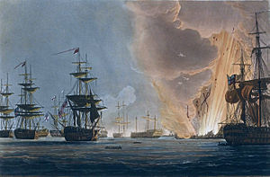 Battle of the Nile - Battle of the Nile, Augt 1st 1798, Thomas Whitcombe, 1816, National Maritime Museum – the climax of the battle, as Orient explodes