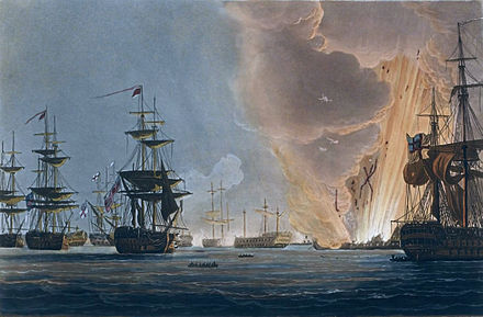 Battle of the Nile, Augt 1st 1798, Thomas Whitcombe, 1816, National Maritime Museum - the climax of the battle, as Orient explodes Battle of the Nile, Whitcombe.jpg