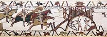 Détail de la tapisserie de Bayeux montrant le siège de la motte castrale de Dinan