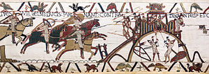 "Breton–Norman War - HIC MILITES WILLELMI DUCIS PUGNANT CONTRA DINANTES; ET CUNAN CLAVES PORREXIT (""Here the knights of Duke William fight against the men of Dinan; and Conan passed out the keys""). Two successive scenes from the contemporary Bayeux Tapestry (c.1066) depicting the Battle of Dinan, one of the decisive battles of the war"