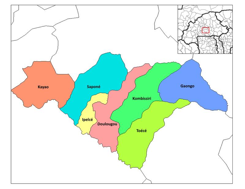 Carte des départements de la province de Bazèga.