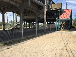 Beach 44th Street (IND Rockaway Line) - Stairs at Beach 44th Street and Rockaway Freeway.