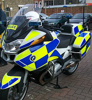 Battenburg markings - A British police motorcycle with reflective markings