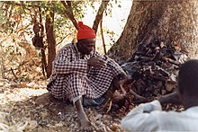 Famous Bedik diviner just outside Iwol, southeast Senegal (West Africa) He predicted outcomes by examining the color of the organs of sacrificed chickens.