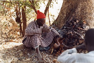 Traditional African medicine - Famous Bedik diviner outside Iwol, southeast Senegal (West Africa). He predicted outcomes by examining the color of the organs of sacrificed chickens.