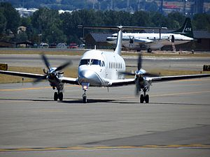 Gulfstream International Airlines - A Beechcraft 1900D airliner at Billings Logan International Airport.