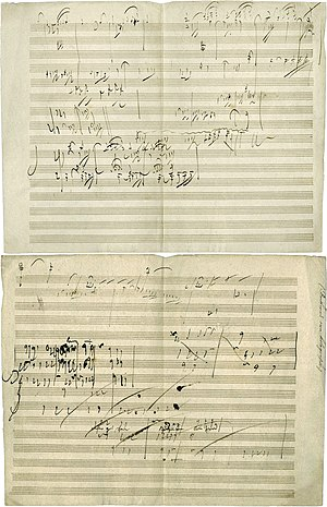 Art music - Ludwig van Beethoven's  manuscript sketch for Piano Sonata No. 28, Movement IV, Geschwind, doch nicht zu sehr und mit Entschlossenheit (Allegro), in his own handwriting. He completed the piece in 1816.