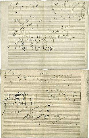 Spartiti manoscritti di Ludwig van Beethoven della Sonata per pianoforte n. 28 del 1816, Movimento IV, Geschwind, doch nicht zu sehr und mit Entschlossenheit (Allegro).