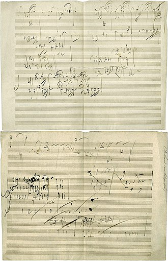 Piano sonata - Ludwig van Beethoven's manuscript sketch for Piano Sonata No. 28, Movement IV, Geschwind, doch nicht zu sehr und mit Entschlossenheit (Allegro), in his own handwriting. The piece was completed in 1816.