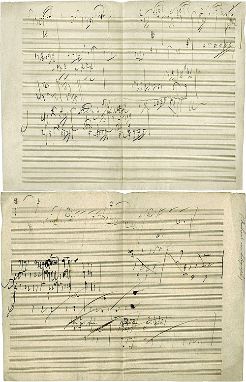 Ludwig van Beethoven's manuscript sketch for Piano Sonata No. 28, Movement IV, Geschwind, doch nicht zu sehr und mit Entschlossenheit (Allegro), in his own handwriting. The piece was completed in 1816. Beethoven opus 101 manuscript.jpg