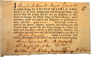 English: Benedict Arnold's Oath of Allegiance,...