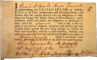 Benedict Arnold - Arnold's Oath of Allegiance, May 30, 1778