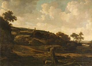 Mountainous landscape, possibly the St Pietersberg, with Lichtenberg castle, near Maastricht