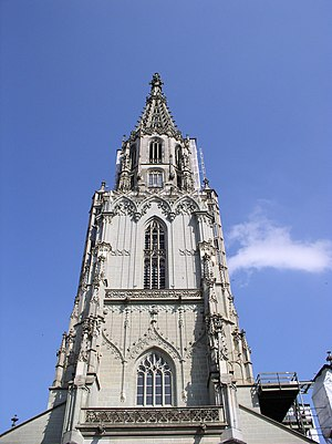 Bern Minster - View of the tower showing the lower and upper octagons
